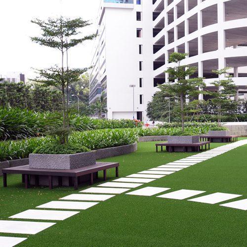 Openbaar groen met grastapijt